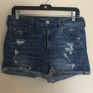 AEO Distressed Hi-Rise Shortie Denim Shorts